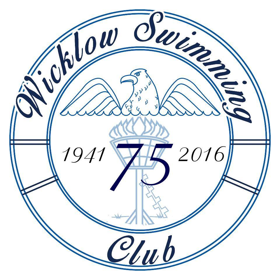 75th Anniversary logo of Wicklow Swimming Club